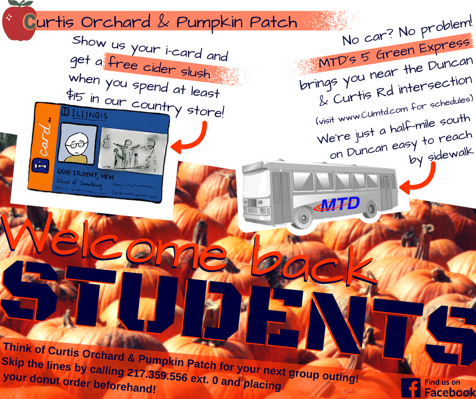 Welcome Back Students - Curtis Orchard & Pumpkin Patch