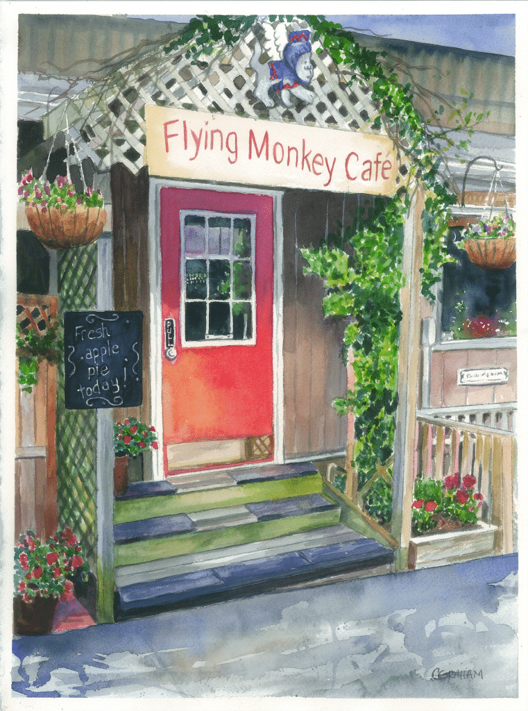 Watercolor, Flying Monkey Cafe Entrance